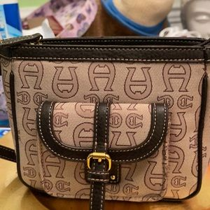 Aigner small purse pre-owned with leather trim.
